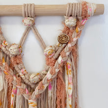 Load image into Gallery viewer, 'Happy Earth Boho Coral' Wall Hanging-Macrame Wall Hanging- Slow Yarn Macrame Handmade Brisbane