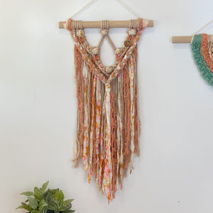 'Happy Earth Boho Coral' Wall Hanging-Macrame Wall Hanging- Slow Yarn Macrame Handmade Brisbane