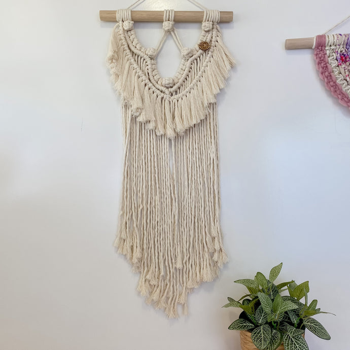 'Happy Earth Boho Natural' Wall Hanging-Macrame Wall Hanging- Slow Yarn Macrame Handmade Brisbane