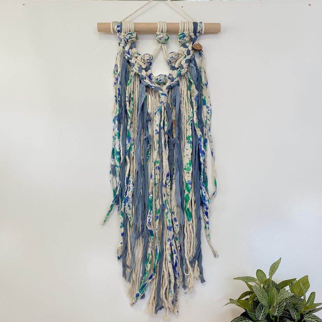 'Happy Earth Boho Ocean' Wall Hanging-Macrame Wall Hanging- Slow Yarn Macrame Handmade Brisbane