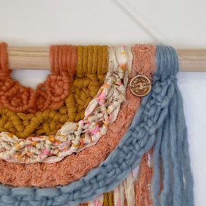 'Happy Earth Boho Vintage Dream' Rainbow-Macrame Wall Hanging- Slow Yarn Macrame Handmade Brisbane