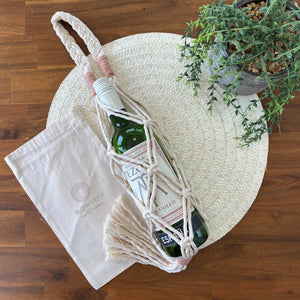 Wine /Water Bottle Carrier Bag-Plant Hanger- Slow Yarn Macrame Handmade Brisbane