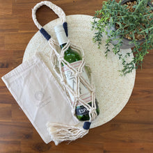 Load image into Gallery viewer, Wine /Water Bottle Carrier Bag-Plant Hanger- Slow Yarn Macrame Handmade Brisbane