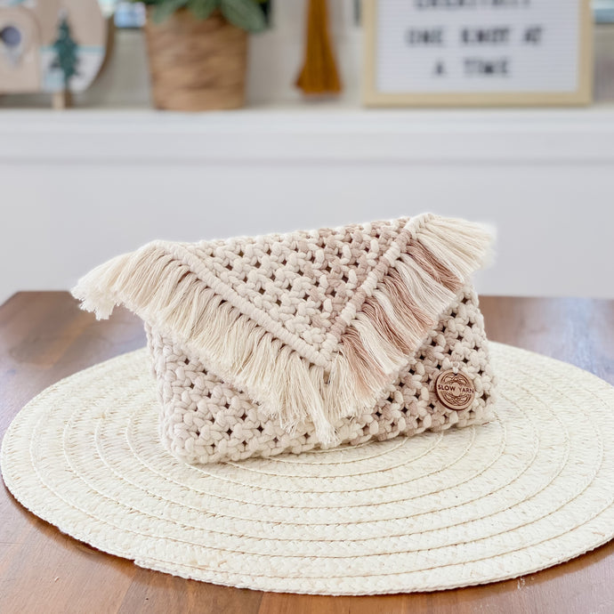 Natural and Nude Clutch Purse-Handbags- Slow Yarn Macrame Handmade Brisbane