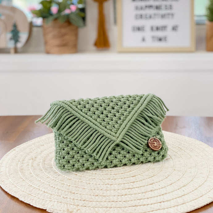 Eucalyptus Green Clutch Purse-Handbags- Slow Yarn Macrame Handmade Brisbane
