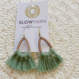 Bamboo Teardrop Macrame Earrings - Eucalyptus Green