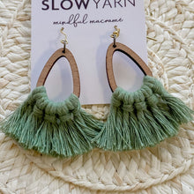 Load image into Gallery viewer, Bamboo Teardrop Macrame Earrings - Eucalyptus Green