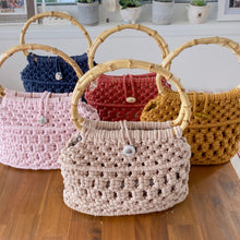 Load image into Gallery viewer, Cinnamon Red 'Ukino' Handbag - Limited Collection - LAST ONE!-Handbag- Slow Yarn Macrame Handmade Brisbane