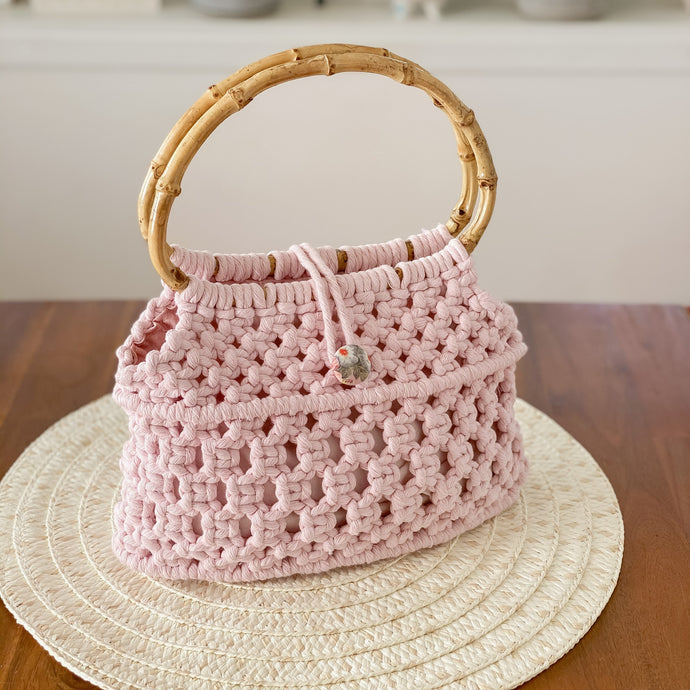 Pastel Pink 'Ukino' Handbag - Limited Collection - LAST ONE!-Handbag- Slow Yarn Macrame Handmade Brisbane