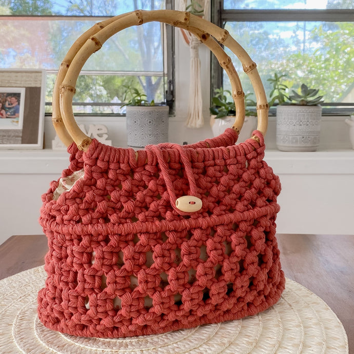 Cinnamon Red 'Ukino' Handbag - Limited Collection - LAST ONE!-Handbag- Slow Yarn Macrame Handmade Brisbane