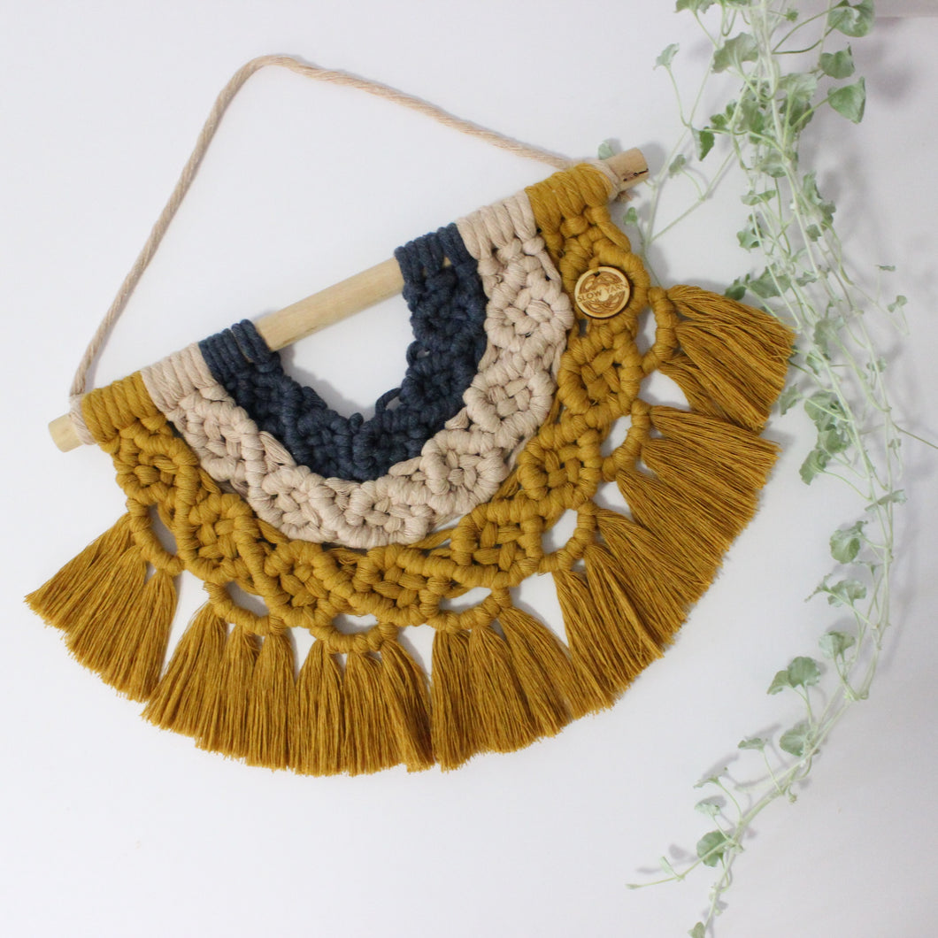 'Rainbows and Sunshine' Wall Hanging-Macrame Wall Hanging- Slow Yarn Macrame Handmade Brisbane