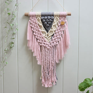 'Pretty in Pink' Wall Hanging-Macrame Wall Hanging- Slow Yarn Macrame Handmade Brisbane