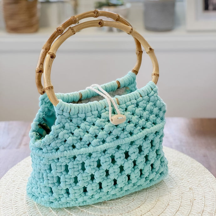 Seafoam 'Ukino' Handbag - Limited Collection - LAST ONE!-Handbag- Slow Yarn Macrame Handmade Brisbane