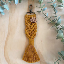Load image into Gallery viewer, Macrame Bag Tag Key Chain Mustard