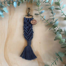 Load image into Gallery viewer, Macrame Bag Tag Key Chain Navy