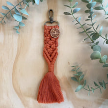 Load image into Gallery viewer, Macrame Bag Tag Key Chain Orange Rust
