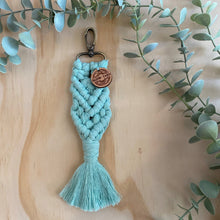 Load image into Gallery viewer, Macrame Bag Tag Key Chain Seafoam Blue