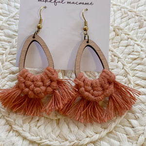 Bamboo Knotted Teardrop Earrings - Terracotta