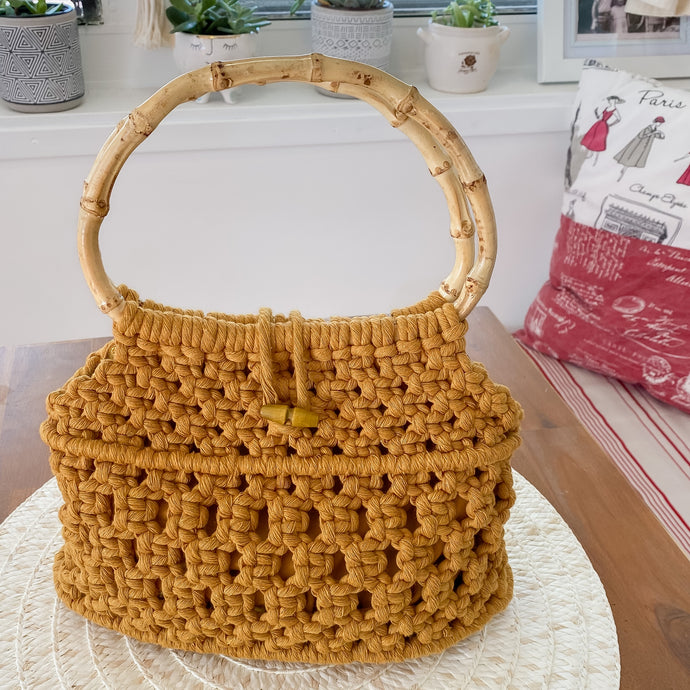 Mustard 'Ukino' Handbag - Limited Collection - SOLD OUT-Handbag- Slow Yarn Macrame Handmade Brisbane