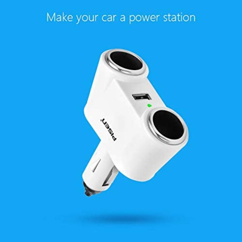Pisen 3-in-1 Car Charger Converter - Upgrade One Car Charger to 2 with an Additional USB Port