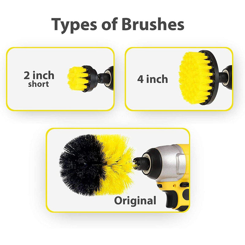 3 Pcs Drill Brush Attachment Set - Power Scrubber Brush Cleaning Kit