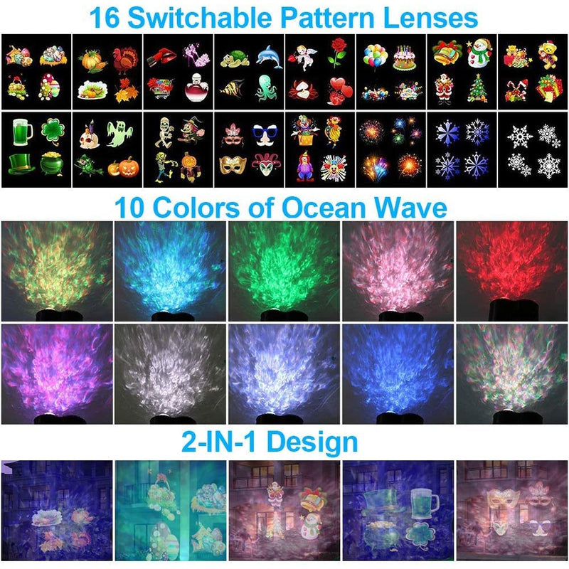 16 Slide Holiday LED Projector Light 16 Slides Waterproof Outdoor Water Wave & Rotating Double Projection Light