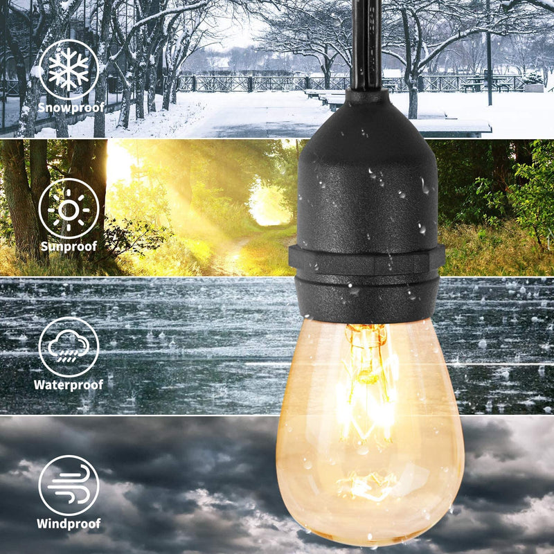 Vintage Style Outdoor Commercial Patio String Lights w/Incandescent, 48-Feet, 15 Lights
