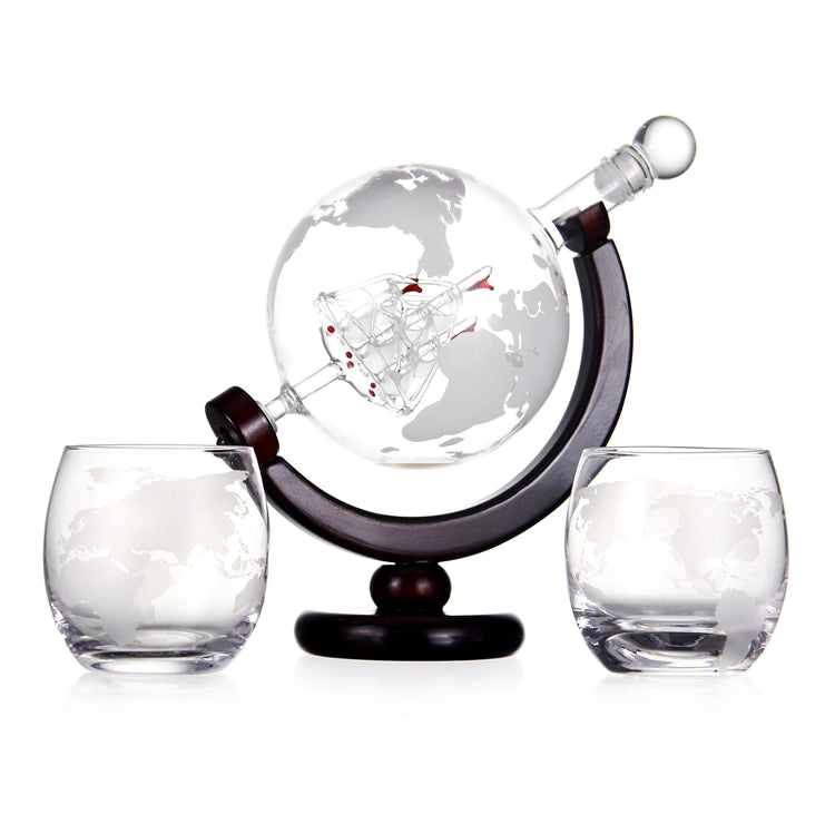 Whisky Globe Decanter Glass Whiskey Decanter With Two Glasses