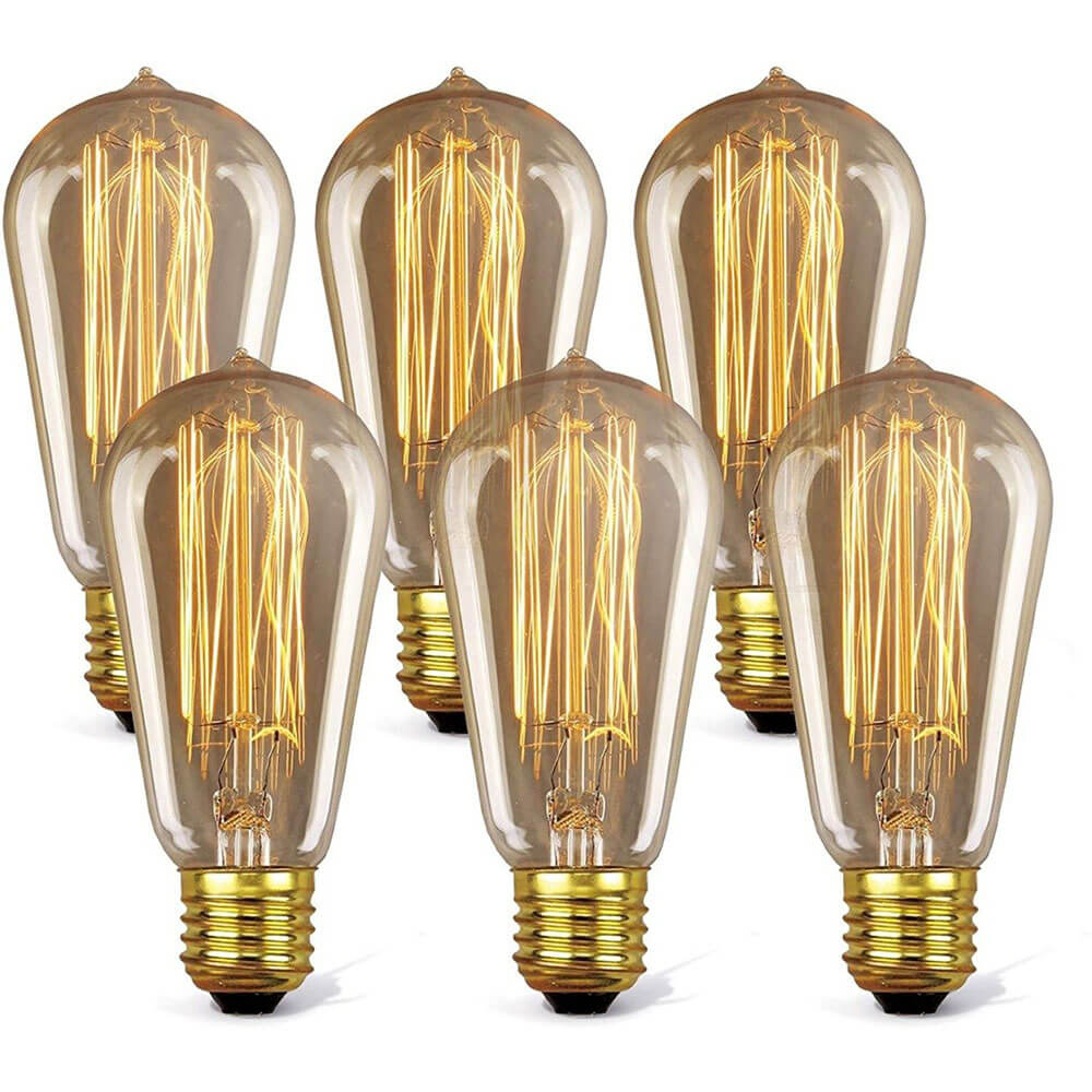 6 Pack Old Fashioned Light Bulbs