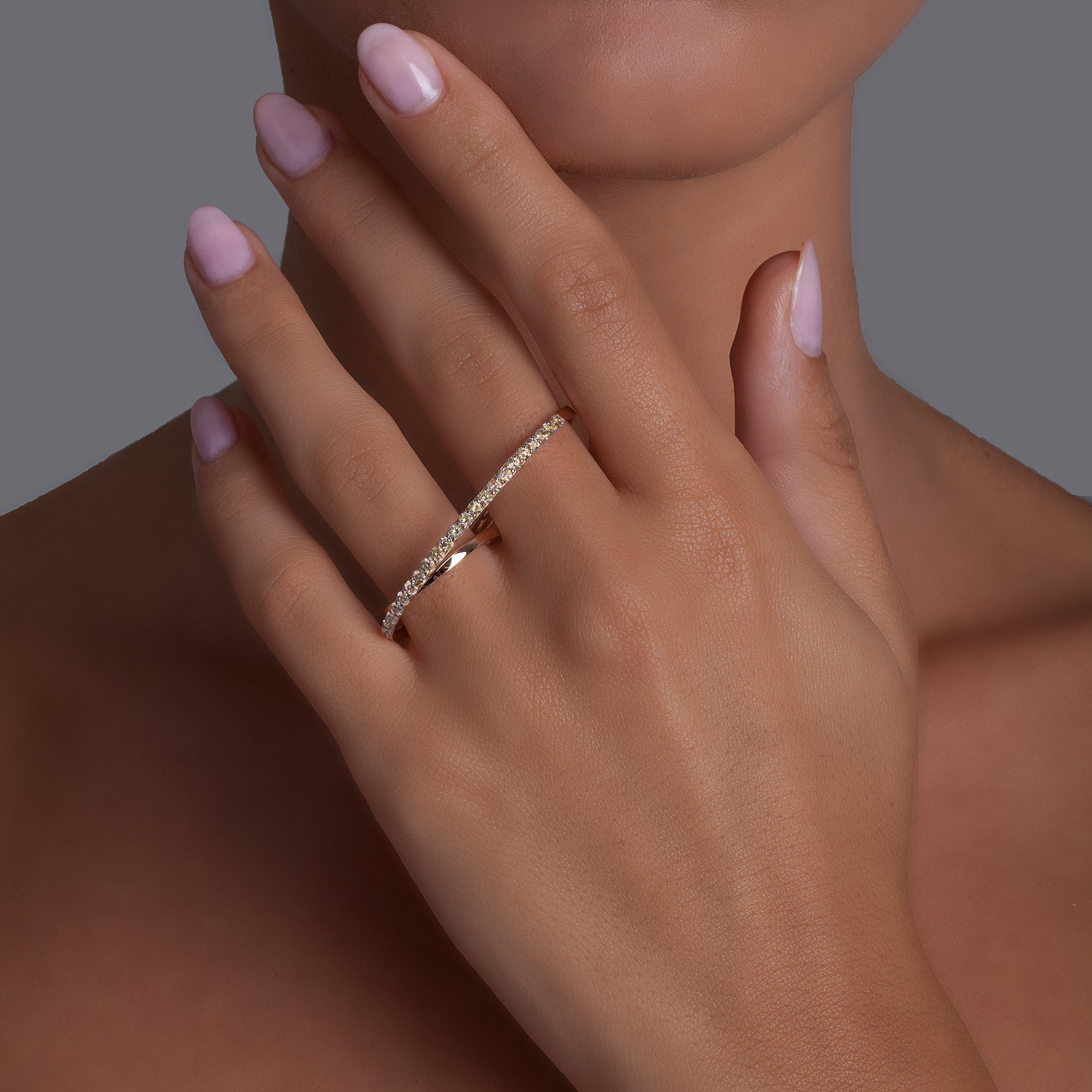 Noi Rose Gold Double Ring With Fancy Diamonds