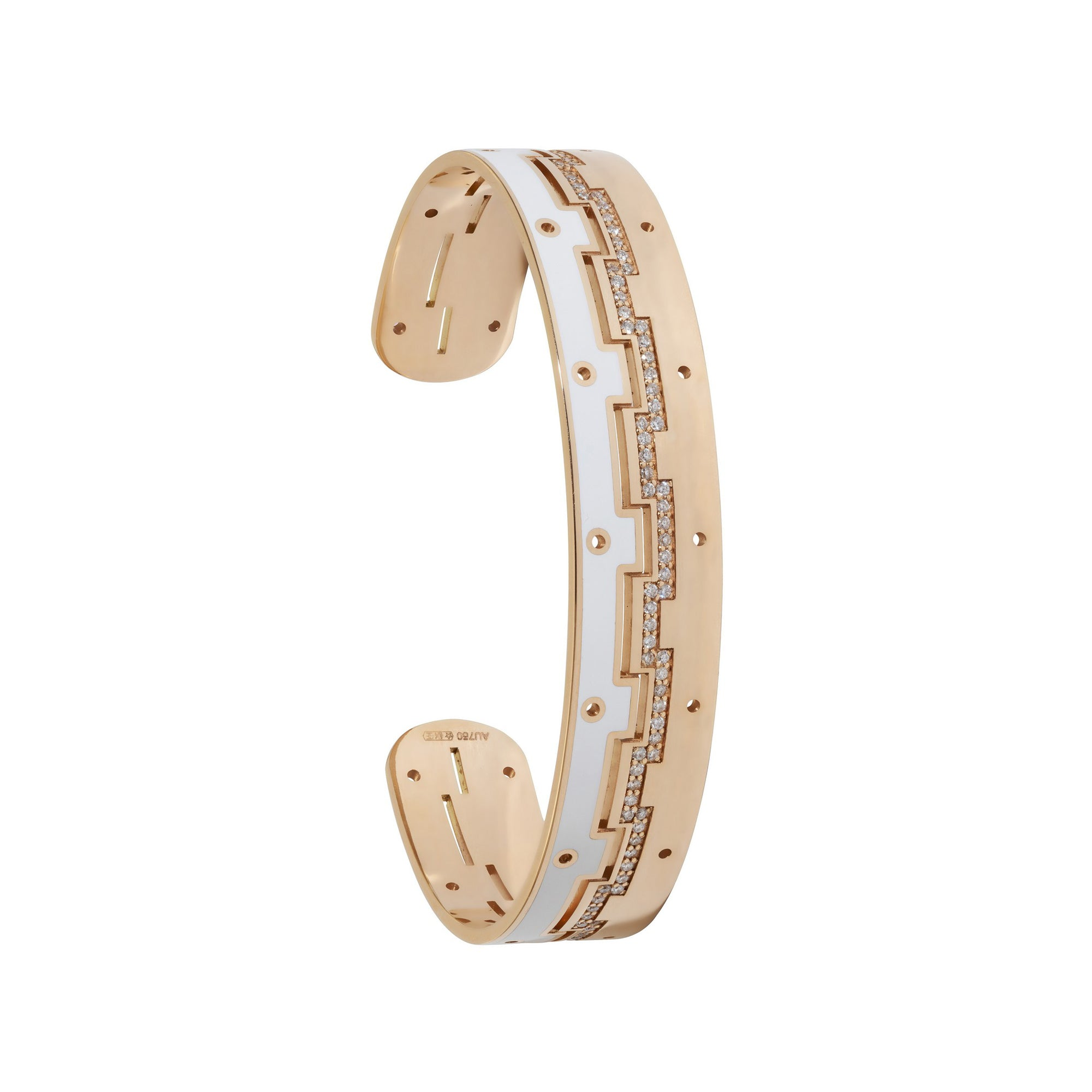 Dedalo 2020 Rose Gold Bracelet With Diamonds And White Ceramic