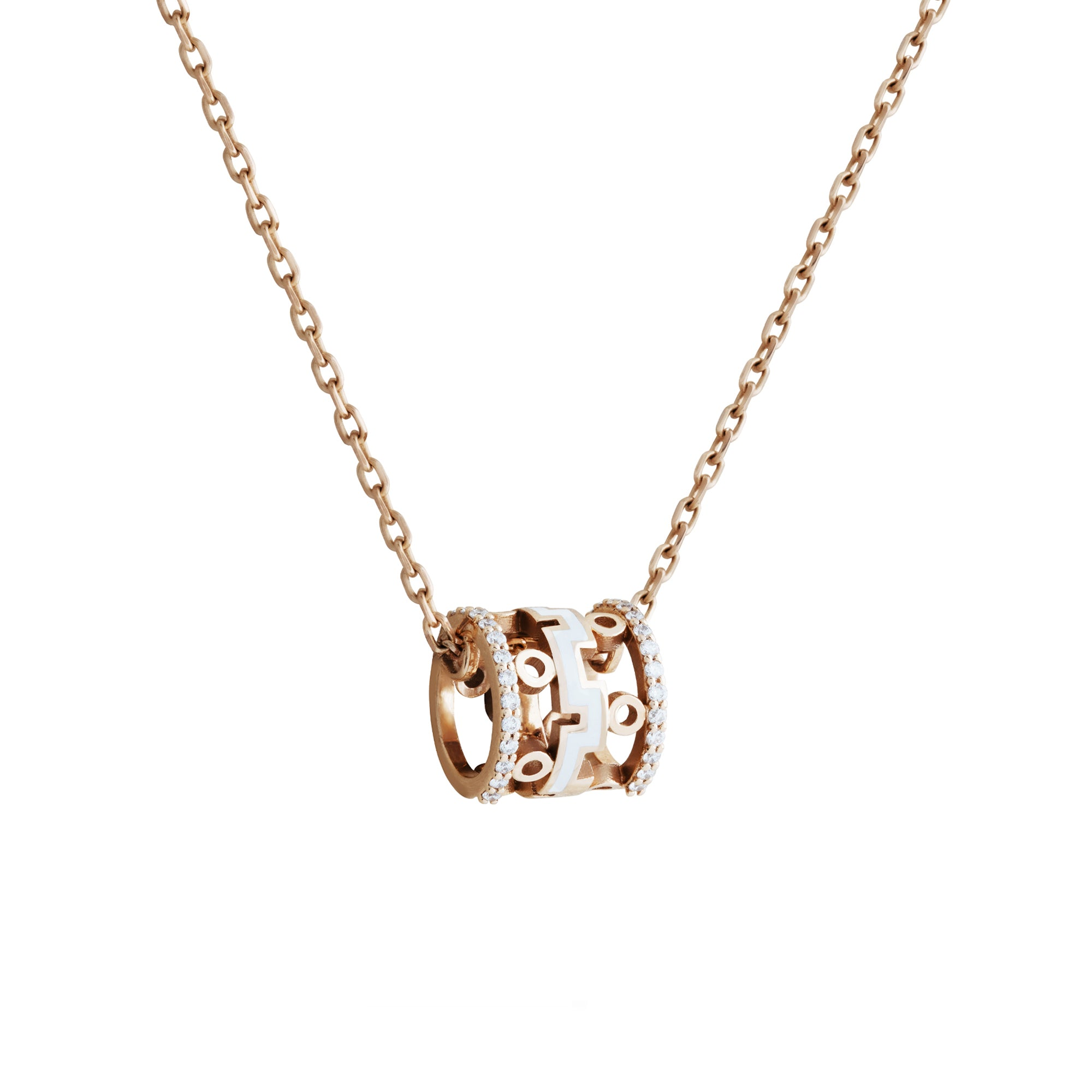 Dedalo 2020 Rose Gold Necklace With Diamonds And White Ceramic