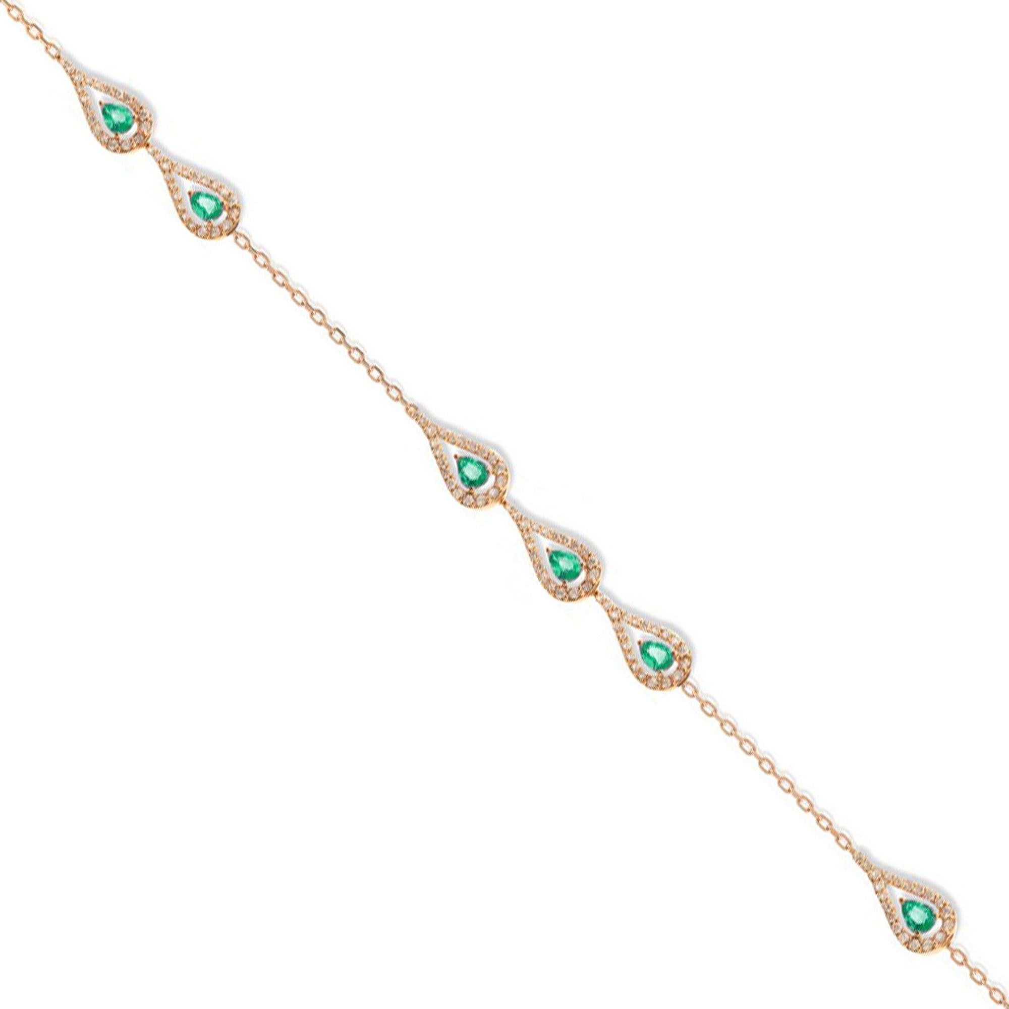 Era Rose Gold Bracelet With Emeralds Diamonds