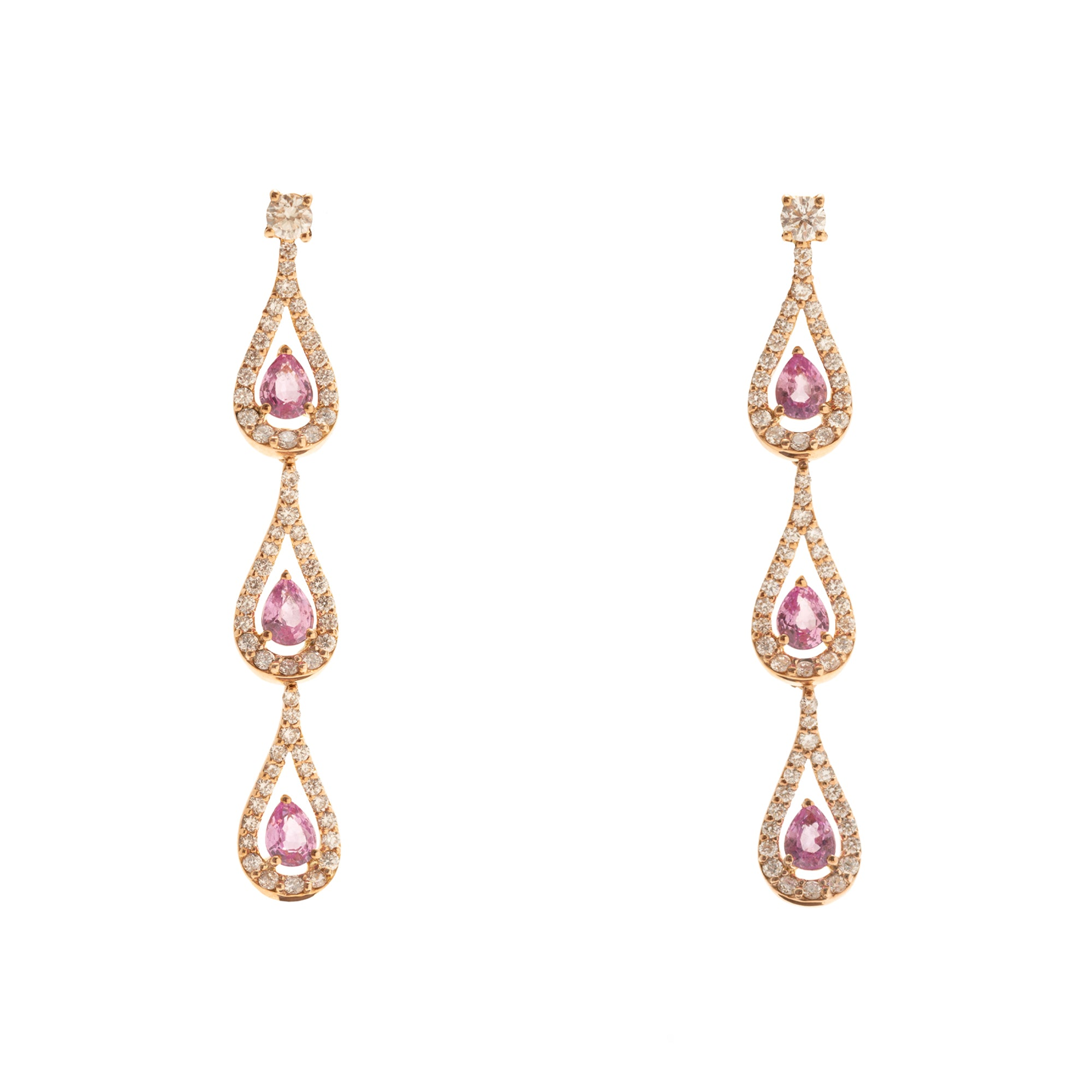 Era Rose Gold Earrings With Pink Sapphires Diamonds