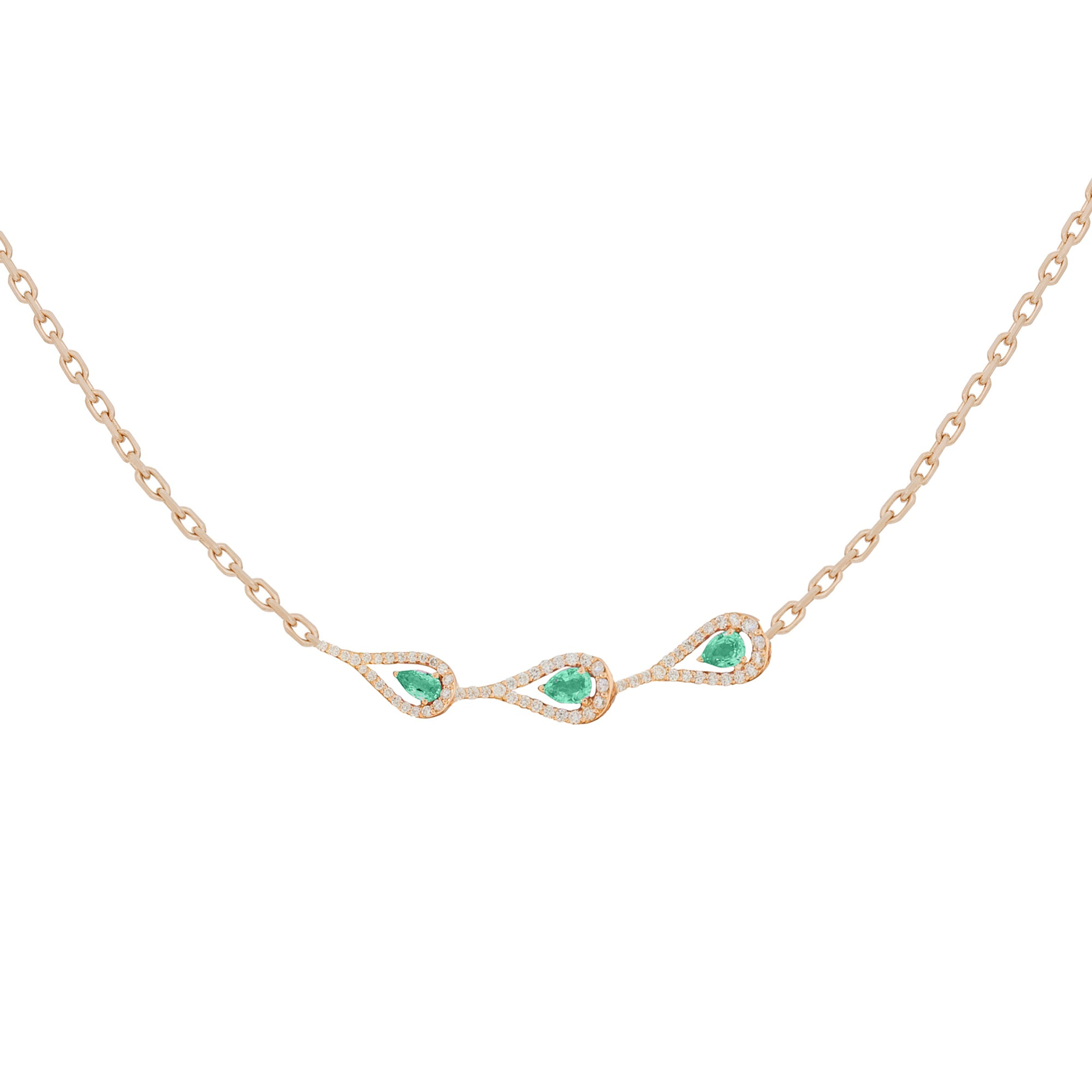 Era Rose Gold Necklace With Emeralds Diamonds