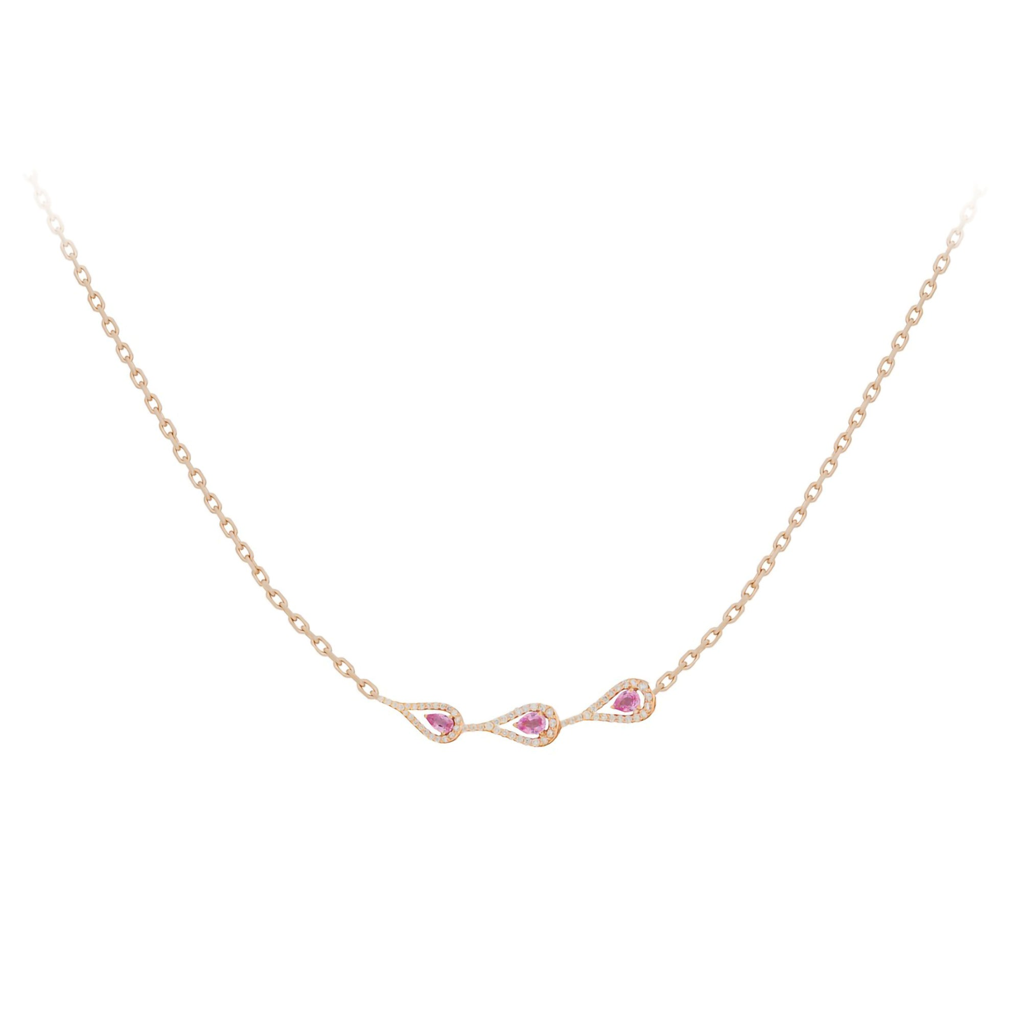 Era Rose Gold Necklace With Pink Sapphires Diamonds