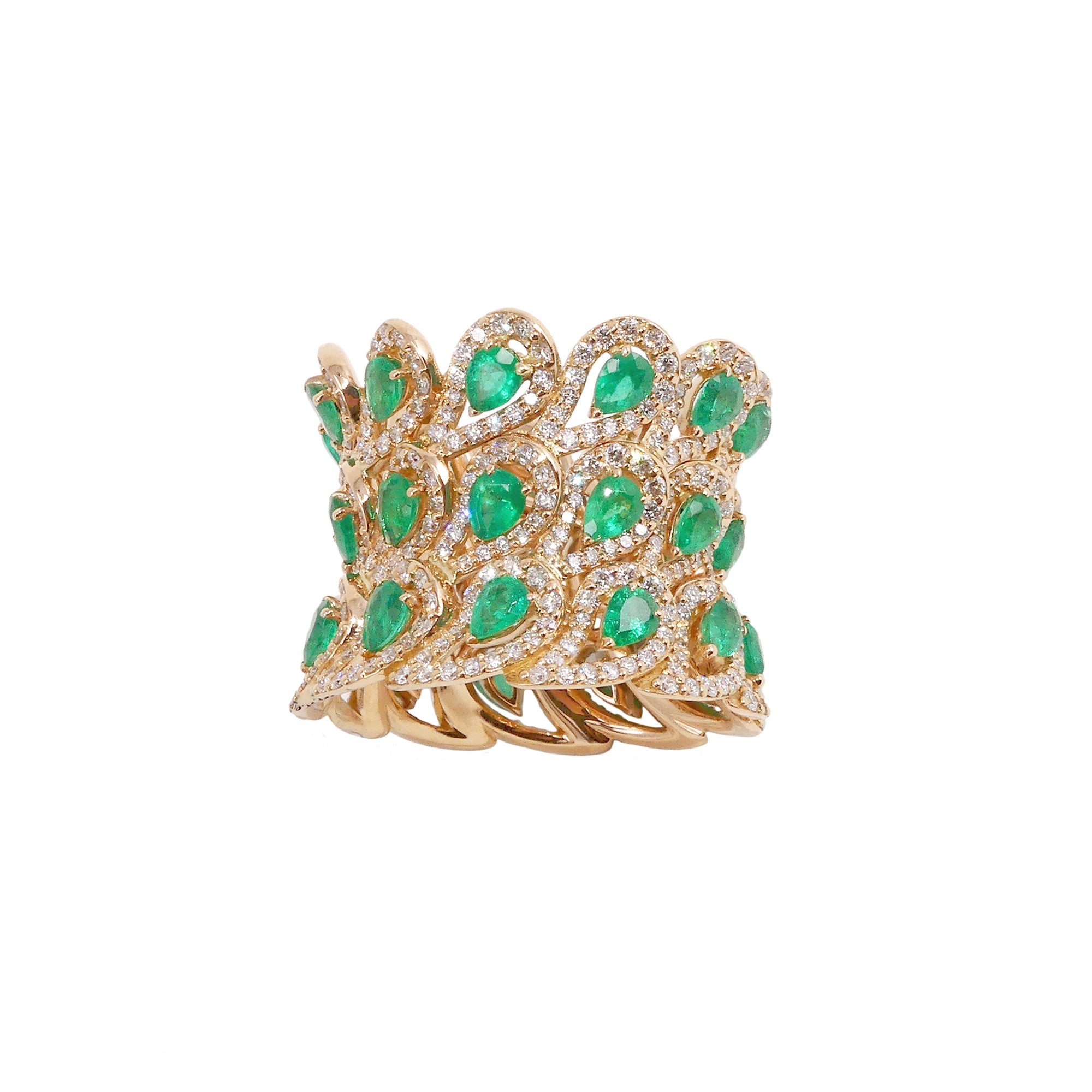 Era Rose Gold Ring With Emeralds and Diamonds