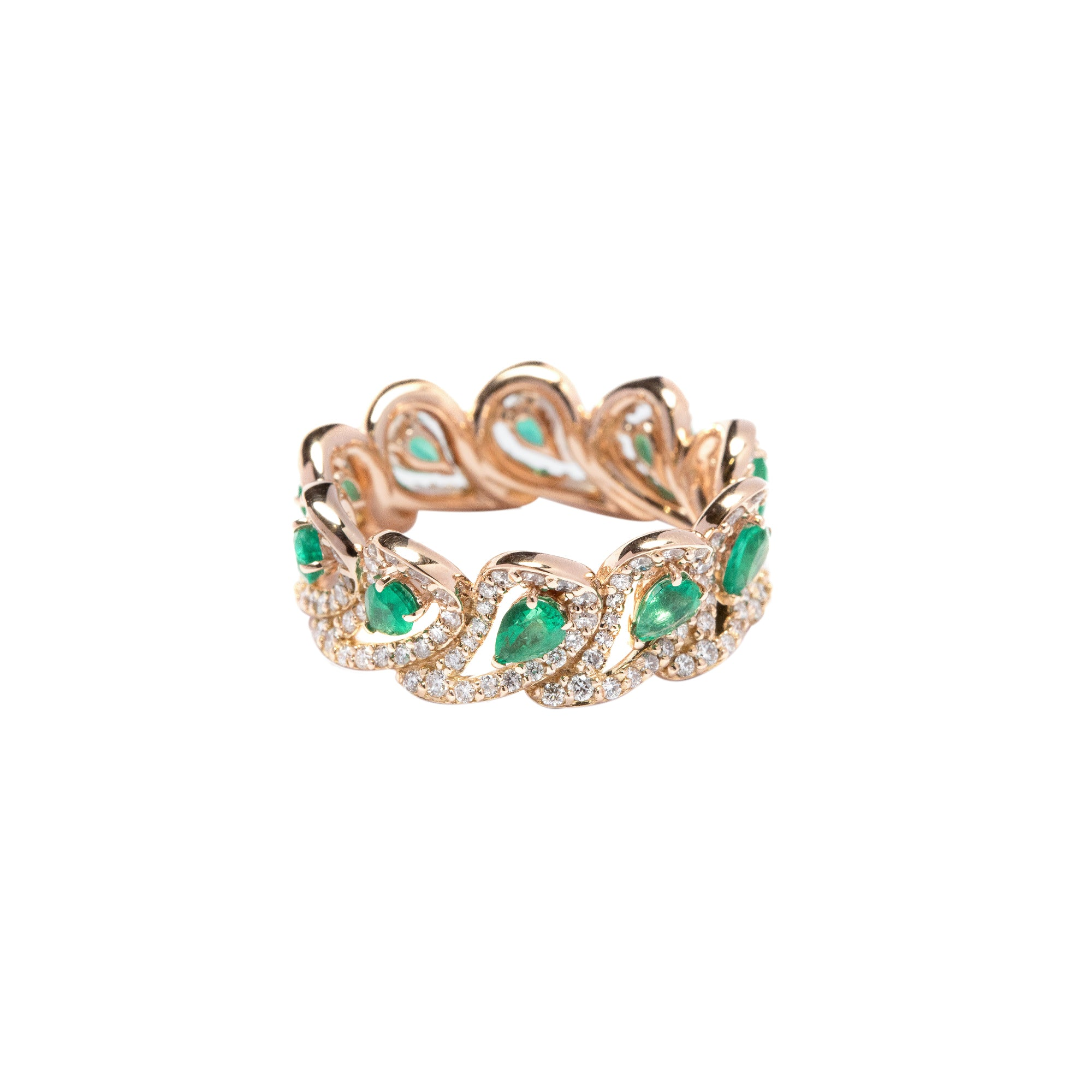 Era Rose Gold Ring With Emeralds Diamonds