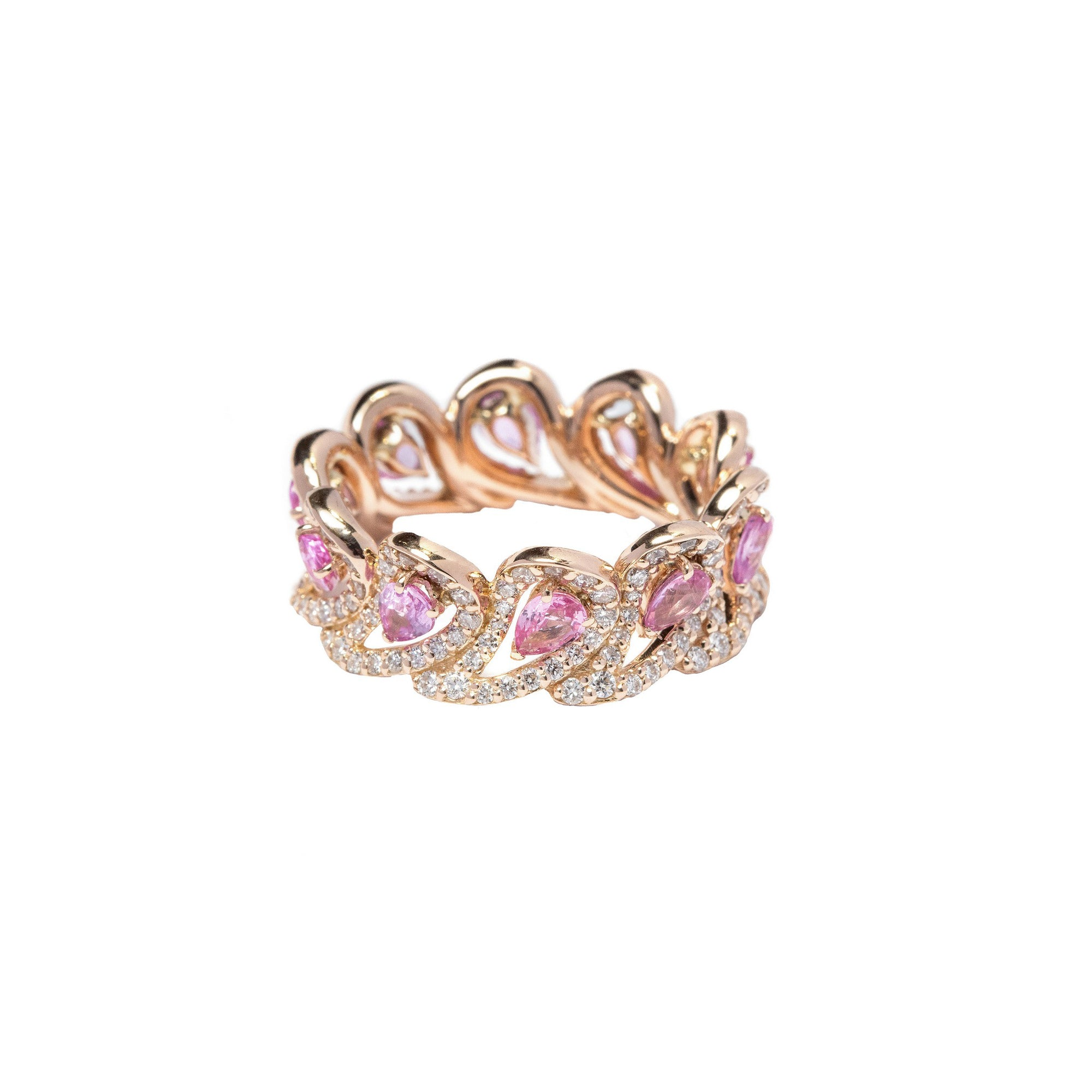 Era Rose Gold Ring With Pink Sapphires Diamonds