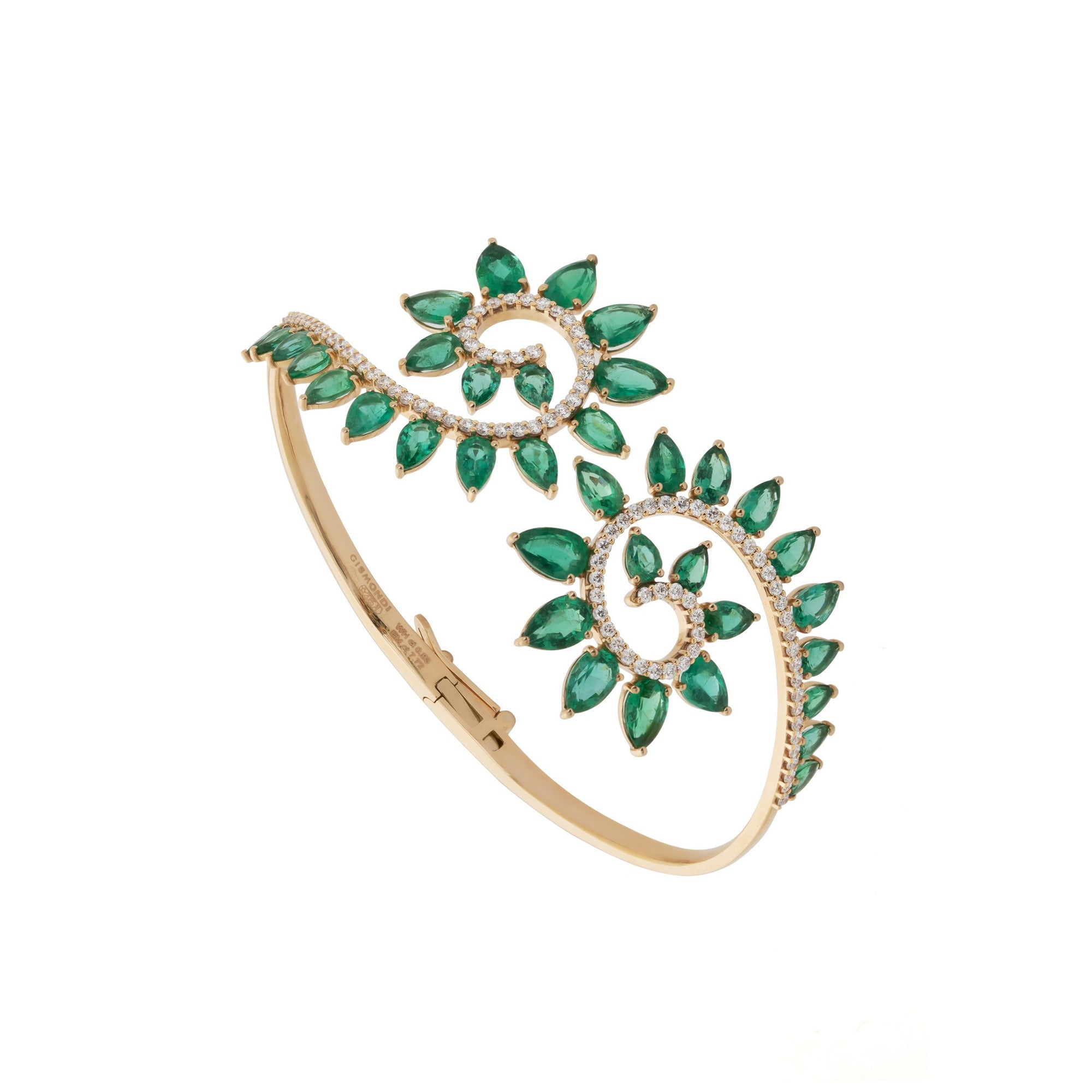 Genesi Rose Gold Bracelet With Emeralds and Diamonds