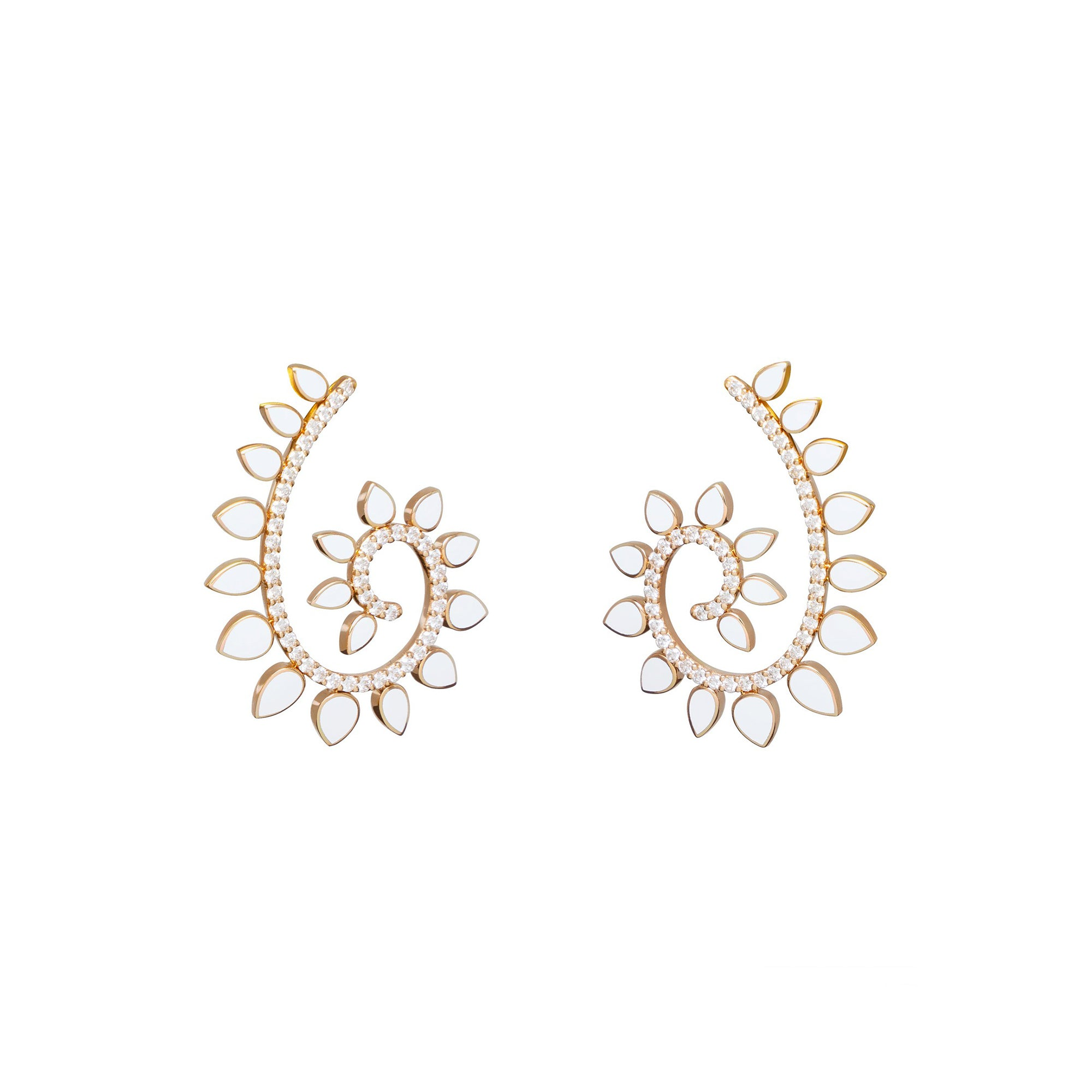 Genesi Rose Gold Earrings With Diamonds And Ceramic