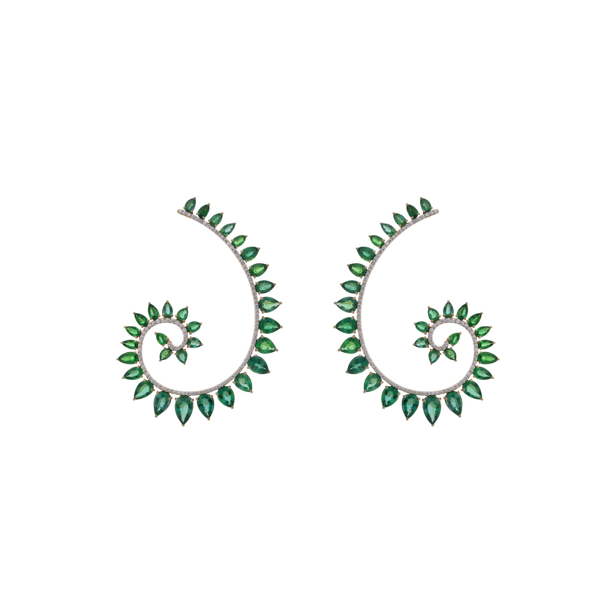 Genesi Rose Gold Earrings With Emeralds And Diamonds