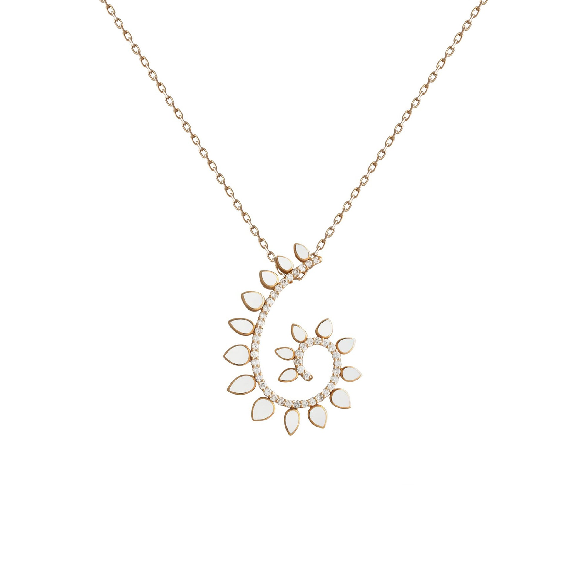 Genesi Rose Gold Necklace With Diamonds And Ceramic