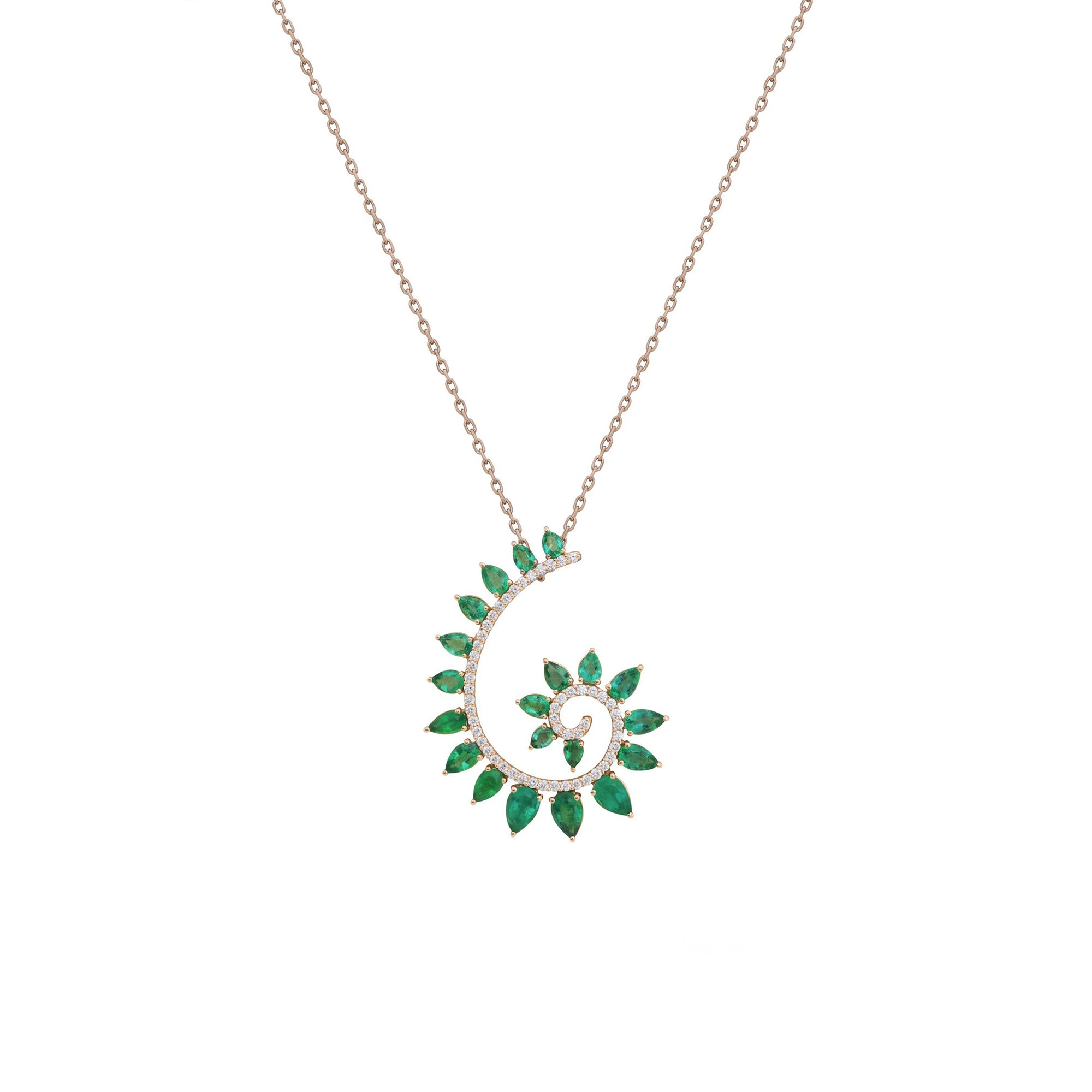 Genesi Rose Gold Necklace with Emeralds And Diamonds