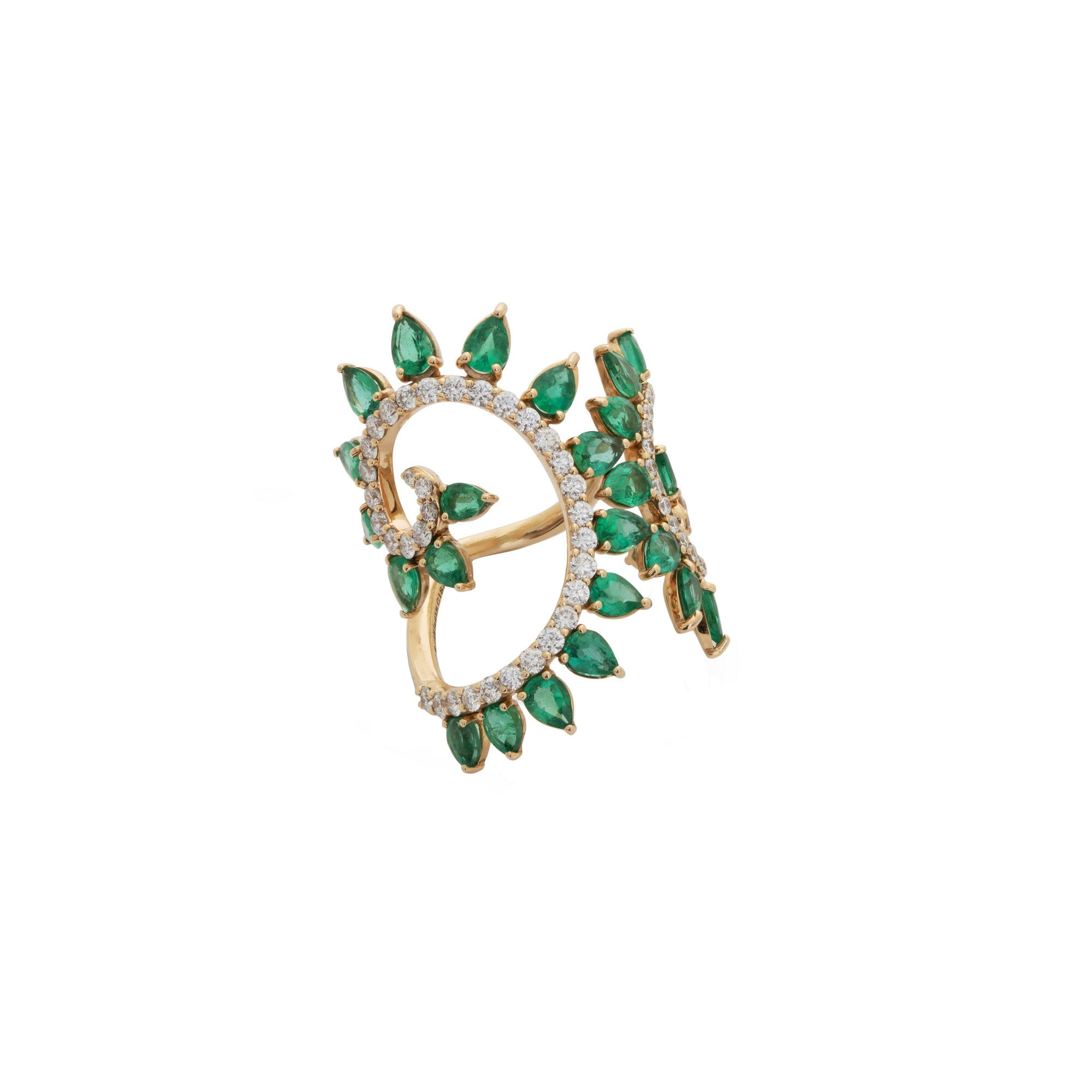 Genesi Rose Gold Ring With Emeralds and Diamonds