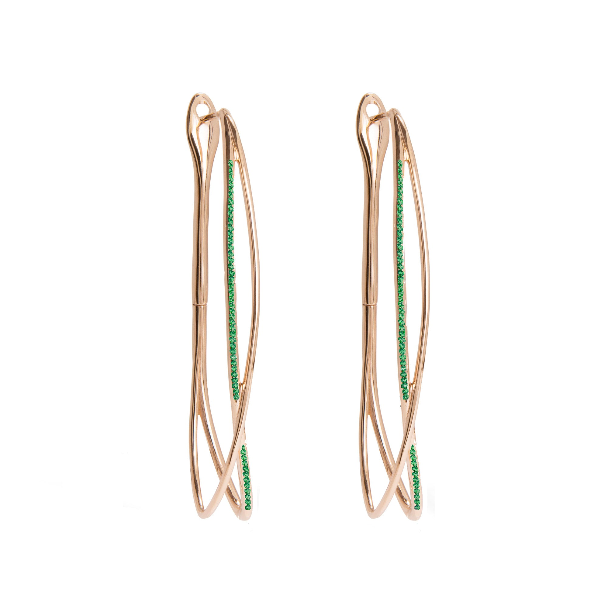 Noi Rose Gold Earrings With Emeralds
