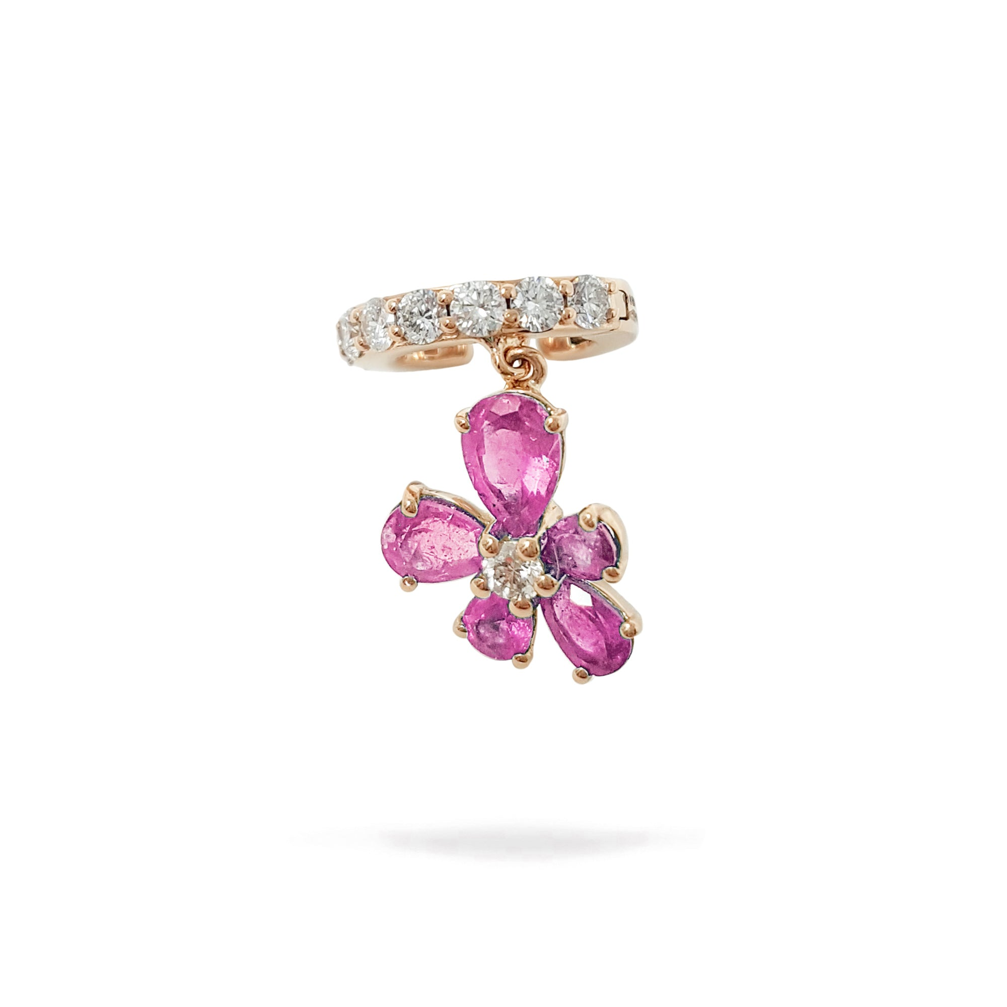 Prato Fiorito Rose Gold Mono Earring With Pink Sapphires Diamonds