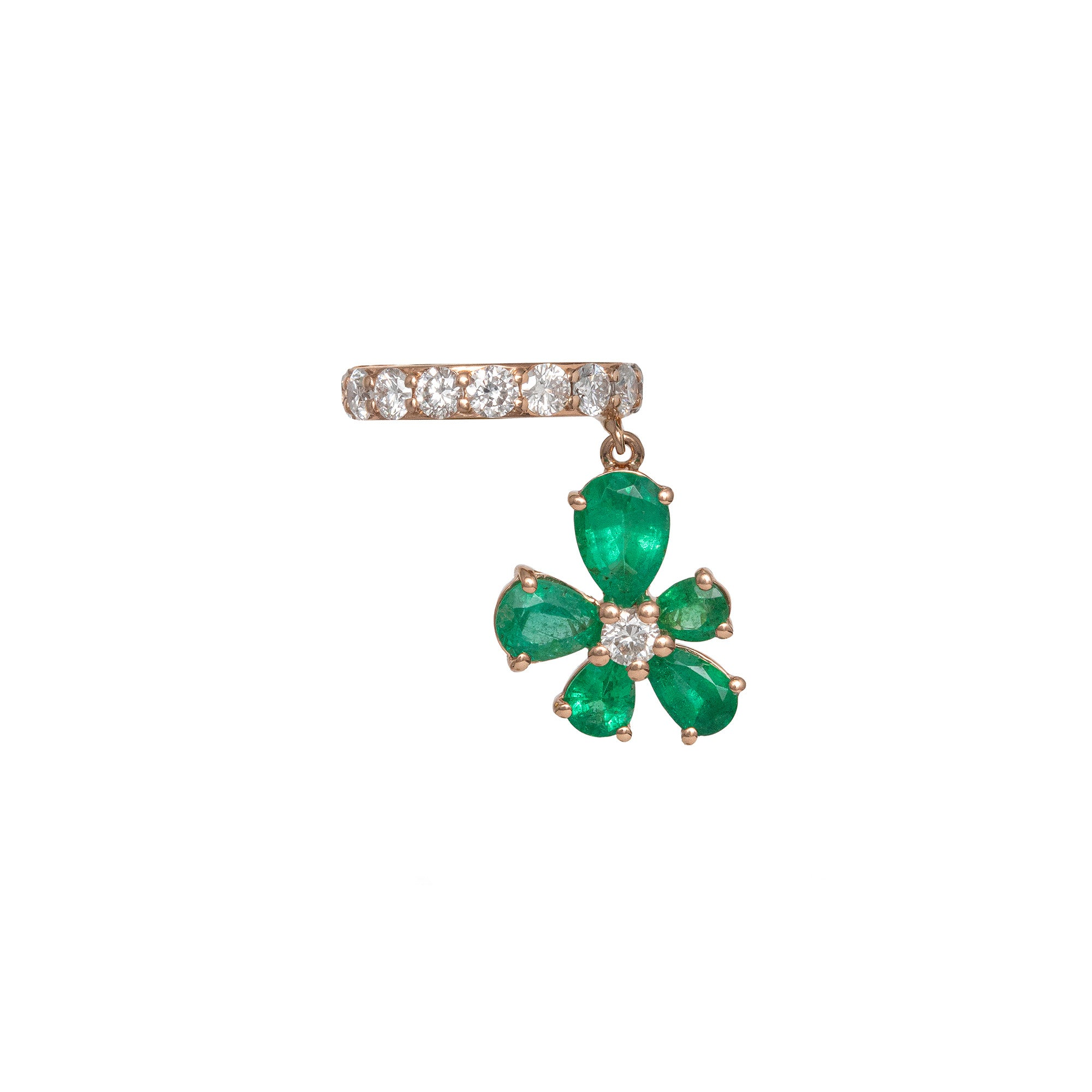 Prato Fiorito Rose Gold Mono Earring With Emeralds Diamonds