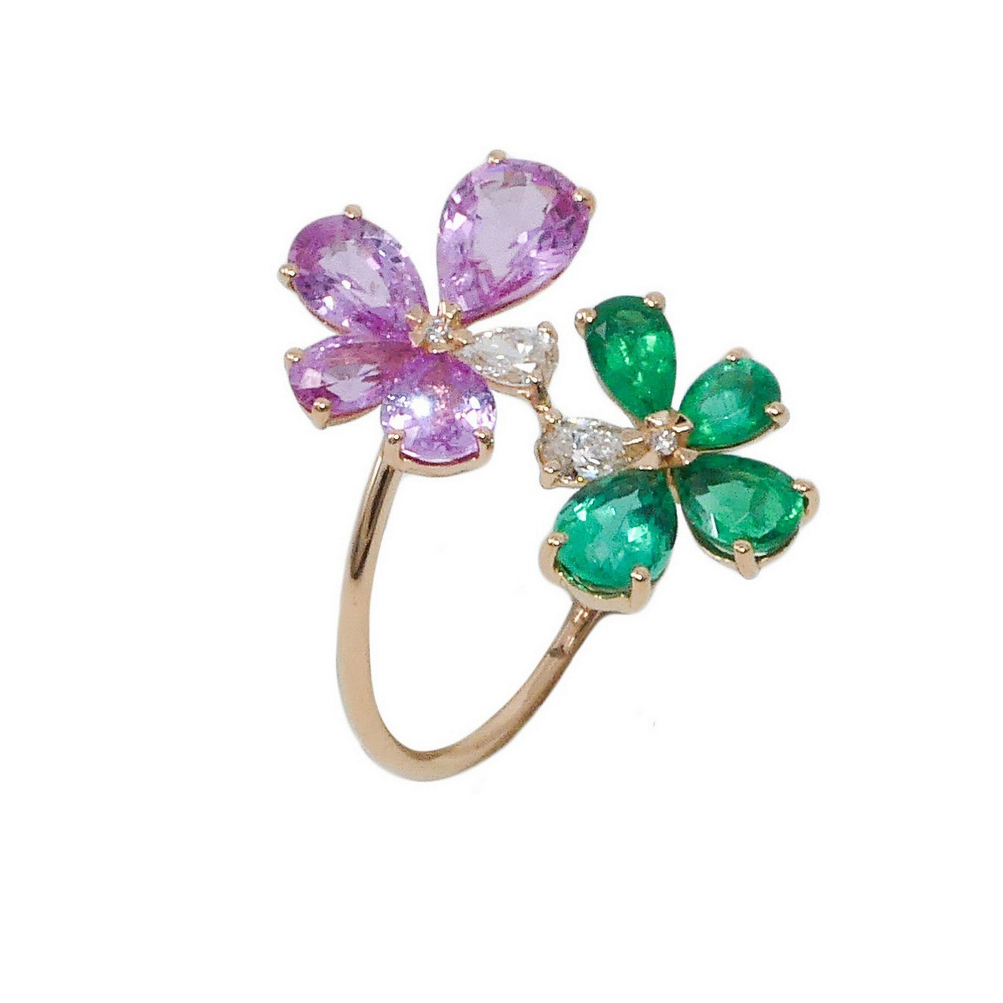 Prato Fiorito TRose Gold Ring With Emeralds Pink Sapphires Diamonds