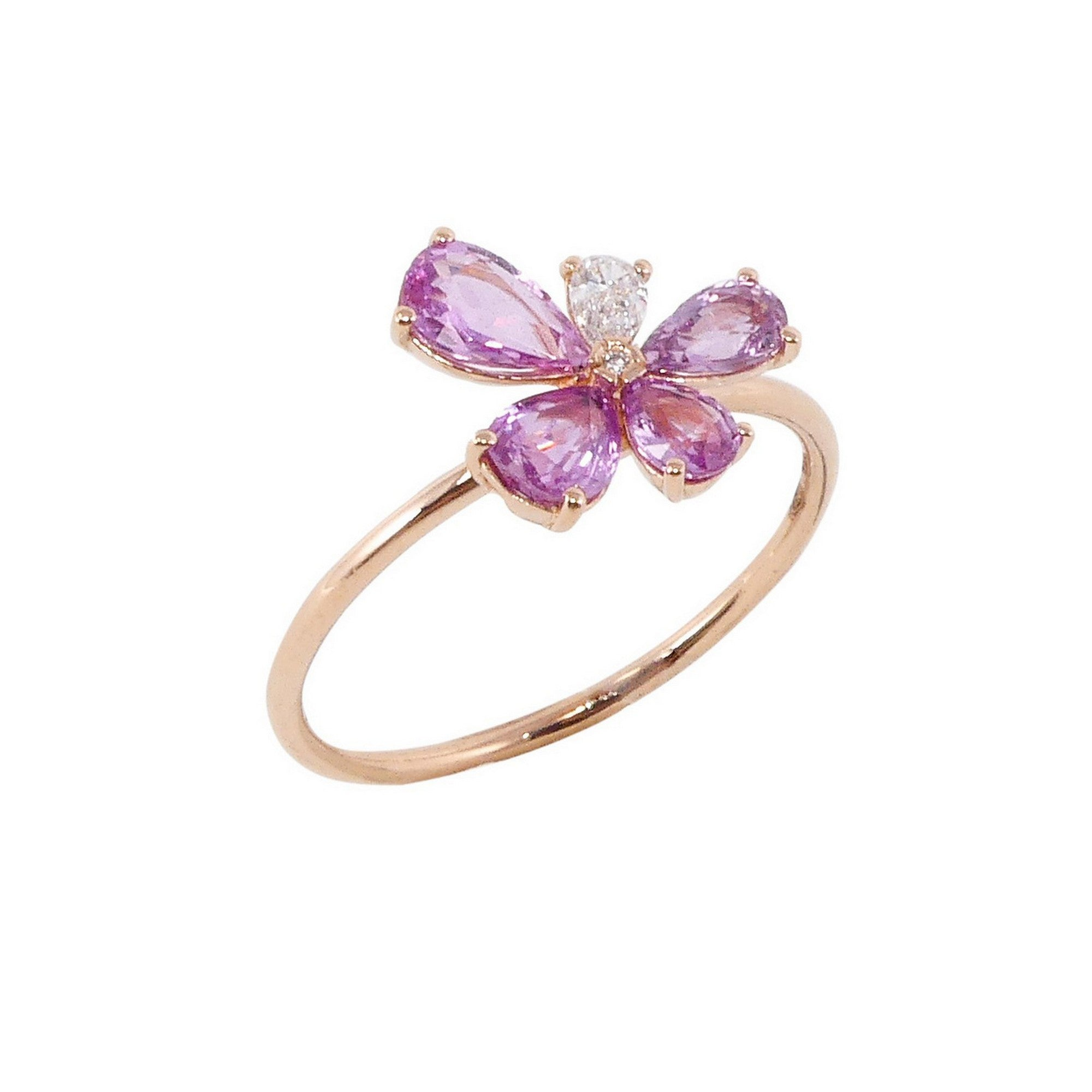 Prato Fiorito Rose Gold Ring With Pink Sapphires Diamonds